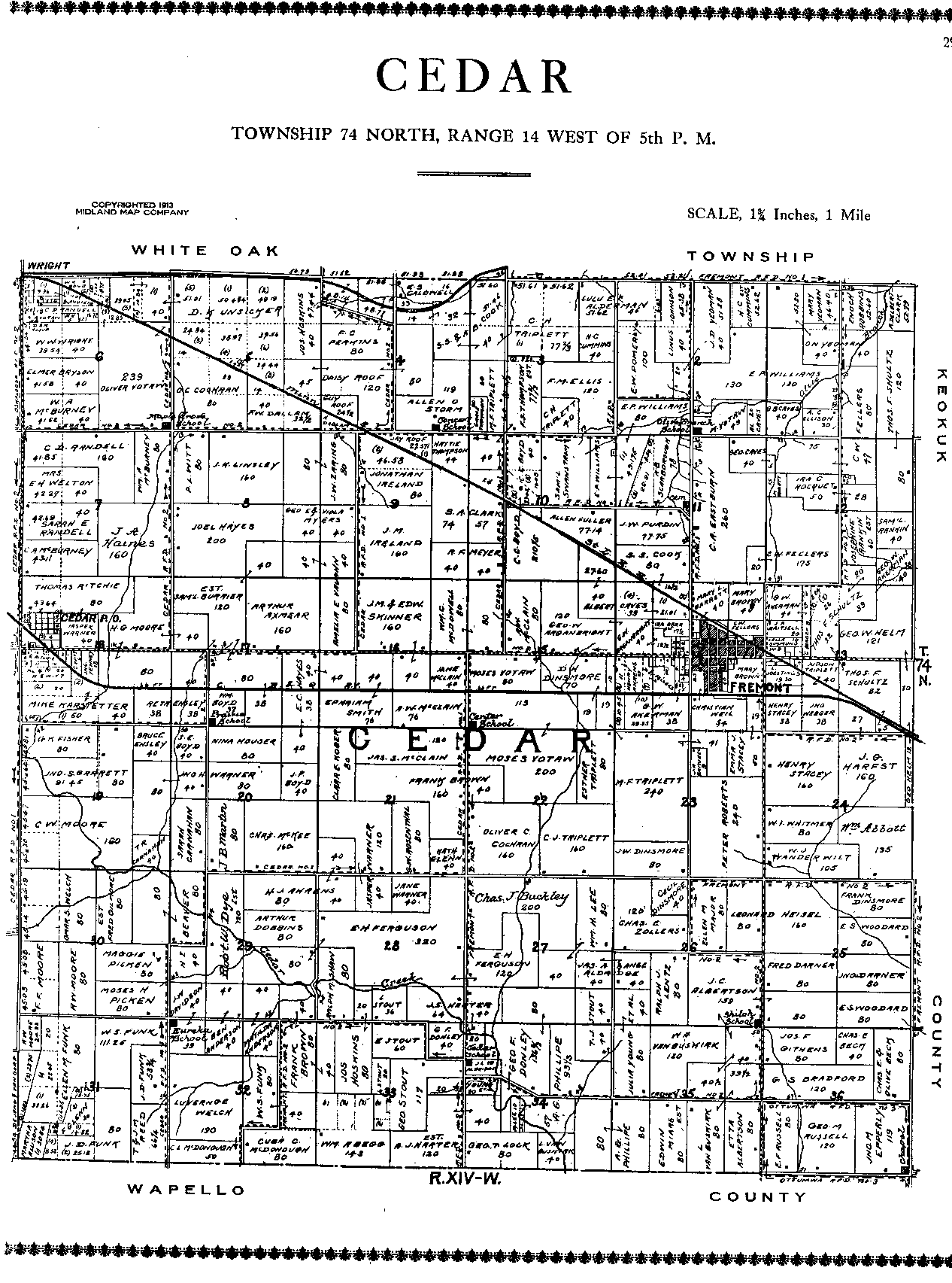 1913 Plat Maps Mahaska County of Iowa