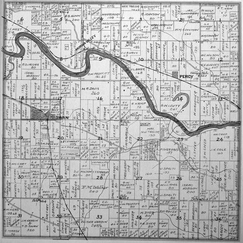 Perry And Swan Townships Plat Map Of Marion County Iowa