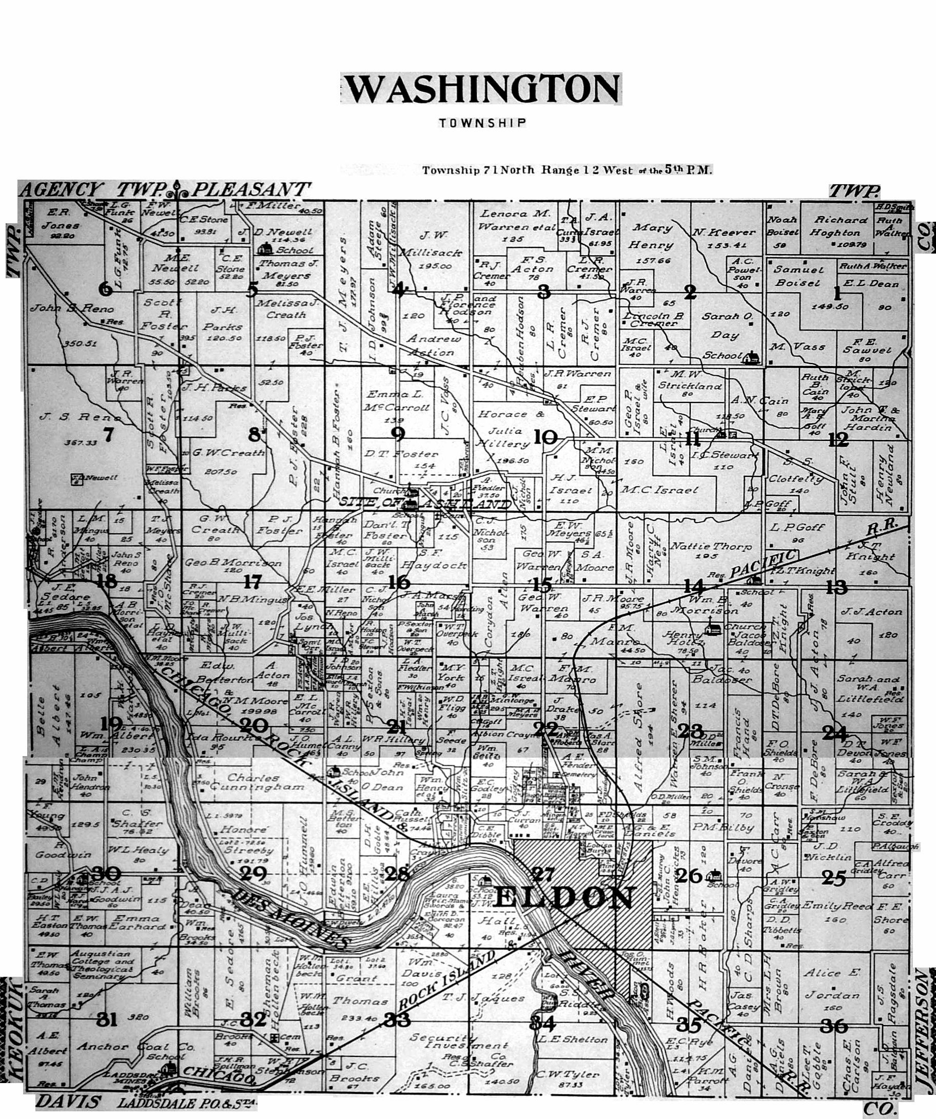 Washington County Iowa Map.Wapello County 1922 Plat Maps